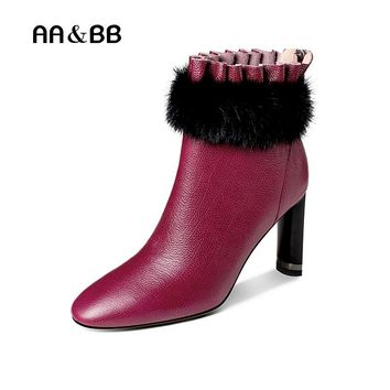 AA&BB black/purple cow leather mink women ankle boots sexy high heels pointed toe elegant thin heels boots woman