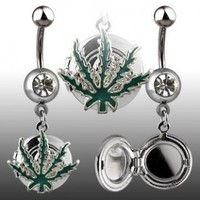 Navel Ring Locket with Pot Leaf and Clear Cubic Zirconia - 14G - 3/8