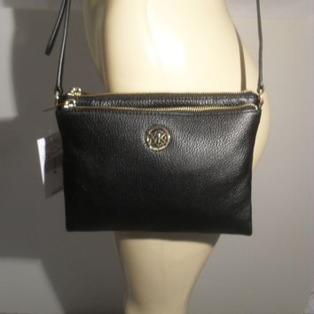 NWT Michael Kors Fulton Black Leather Large Crossbody Bag MK Messenger Purse