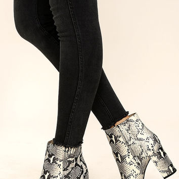 Seychelles Accordion Black and White Python Leather Ankle Boots