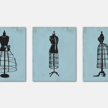 Fashion Wall Art Trio - Room Decor - Dress Forms Silhouettes on Chalkboard, Vintage French Script, Vintage - Distressed Background - 8 x 10