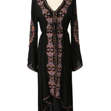 Black Embroidery Detail Bell Sleeve Asymmetric Empire Dress