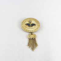 Antique Victorian 14K Gold Tassel Brooch Yellow Gold Black Onyx Seed Pearl Enamel Mourning or Memorial Pin Memento Mori Fine Jewelry