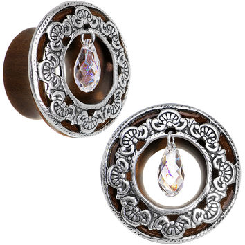 """3/4"""" Clear Rosewood Trumpet Plug Set Created with Swarovski Crystals"""