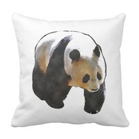 Watercolor Panda Throw Pillow