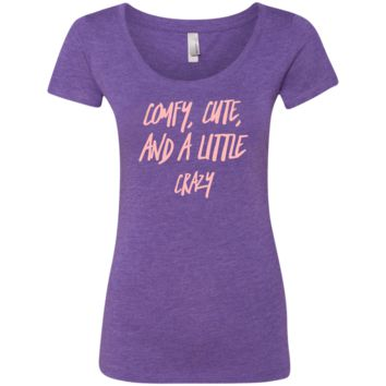 Cute Crazy Light Pink Font Ladies' Triblend Scoop