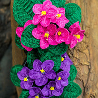 Crochet African Violet Pattern - Crochet Saintpaulia Pattern for Home Decor - Crochet Flower Pattern
