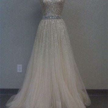 Stunning A-line Sweetheart Sweep Train Tulle Prom Dress with Sequins
