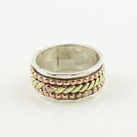 Spinner Ring - Three Tone Woven