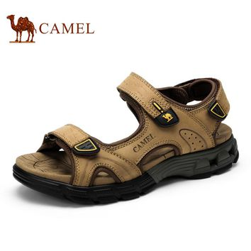 Camel Sandals Male Summer 2016 Cattle leather Sandals Wear-resistant Beach Breathable Leisure Men's Sandals A622307277