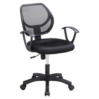 Yaheetech Adjustable Swivel Computer Desk Chair Fabric Mesh Office Chair with Arms Seating Back Rest,Black - Walmart.com