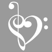 "TREBLE AND BASS CLEF HEART 4"" (color: PURE WHITE) Vinyl Decal Window Sticker for Cars, Trucks, Windows, Walls, Laptops, and other stuff."