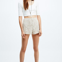 Pins & Needles Two-Tone Lace Shorts in Ivory - Urban Outfitters
