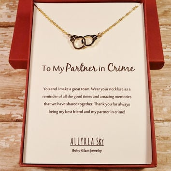 "Gold Plated Handcuff ""Partner in Crime"" Necklace and Card 