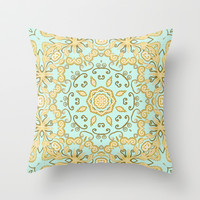Cassidy in Aqua Mint Throw Pillow by Lisa Argyropoulos