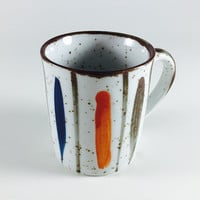 Vintage Ceramic Coffee Mug Tea Cup Brown Speckled Pottery Painted Orange Blue Stripe