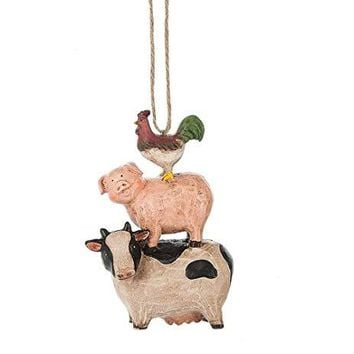 Rooster, Pig, and Cow Stack Ornament