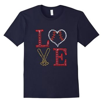 Softball T-Shirt Baseball Love Heart Art Diamond Design Tee