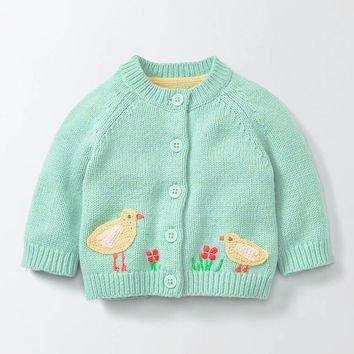 Beautiful Embroidered Baby Knitted Cardigan Sweater