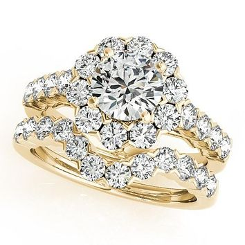 Leslie Round Moissanite Diamond Halo Shared Half-Bezel Setting Filigree Basket Engagement Ring