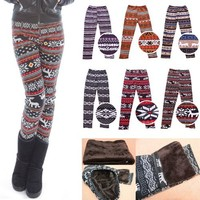 HDE Women Winter Knit Leggings Fleece Line Nordic Design Thermal Insulated Pants