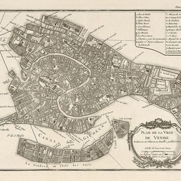 Antique Map of Venice (1764) by Jacques Nicolas Bellin - Archival Reproduction