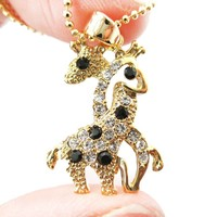 Giraffes with Necks Entwined Animal Shaped Pendant Necklace in Gold with Rhinestones