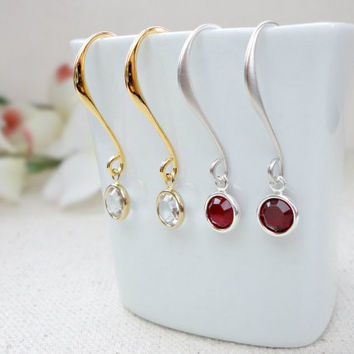 Customizable birthstone earrings, Swarovski birthstone earrings, Bridesmaid earrings, Simple everyday