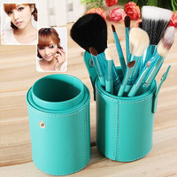 12PCS Professional Cosmetic Tool Green Barrel Make-up Brushes