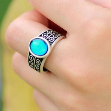 Retro Silver Mood Ring