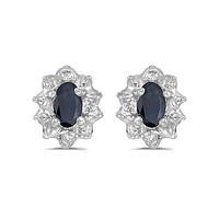10K White Gold Oval Sapphire and Diamond Earrings (3/4ct TGW)