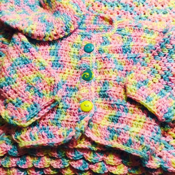 Rainbow Knit Infant Set, Pastel Rainbow Baby Shower Gift, New Baby Gift Set, Crochet Infant Outfit, Knit Baby Blanket, Baby Holiday Gift Set