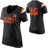 Cincinnati Bengals Nike Women's Fan Top V-Neck T-Shirt – Black