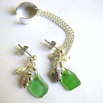 Sea Glass Ear Cuff Earring Set, Green Genuine Beach Glass with Sea Turtle and Fresh Water Pearl Mermaid Earrings, Beach Jewelry