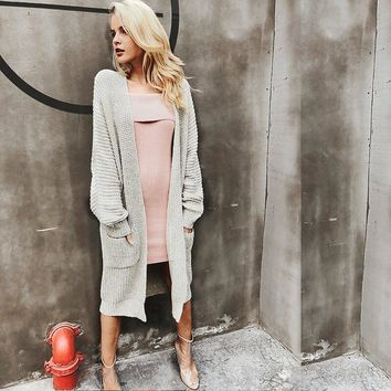 Trendy Long Knitted Cardigan Casual Soft Loose Sweater