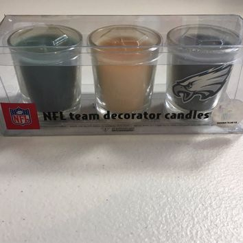 NFL PHILADELPHIA EAGLES 3 PIECE CANDLE SET SHIPPING