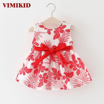 VIMIKID Baby Dress Floral Sleeveless Party Dresses For Girls Cotton Bebe Dress Kids Princess Dress Summer Costumes