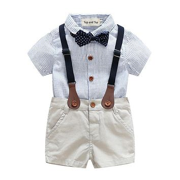 Baby Boy Clothing Set Bow Tie Gentleman Short Sleeve Stripe Shirt+Suspender Shorts Infant Boys Clothes