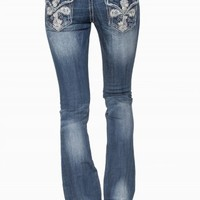 GRACE IN LA BOOT FLORAL CROSS JEANS