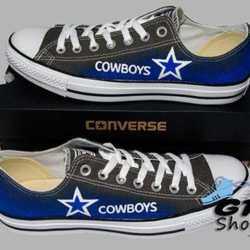 ESBONB Hand Painted Converse Low. Dallas Cowboys. Football. Superbowl. Charcoal gray. Handpai
