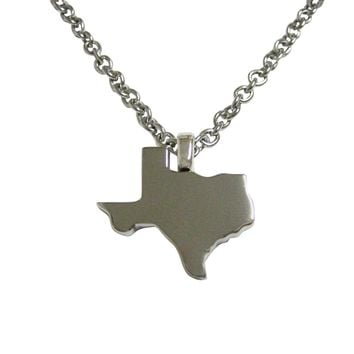 Texas State Map Shape Pendant Necklace
