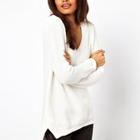ASOS V-Neck Jumper In Chunky Knit With Stepped Hem