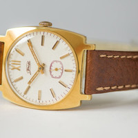 Elegant men's wrist watch gold plated gents watch mint condition wristwatch for him premium leather watch gift for men