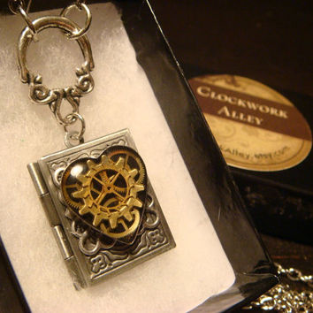 Steampunk Neo Victorian Clockwork Gears Heart Book LOCKET Necklace- Makes a great VALENTINES DAY Gift (1595)