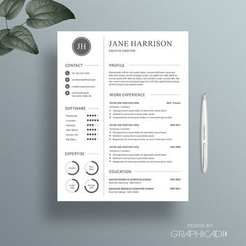 Resume Template - Cover Letter Template - Resume Template for Word - CV Template - Resume Template with Charts - Instant Download