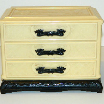Vintage Celluloid Ivorene Asian-styled Jewelry Box