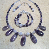 Real Amethyst Necklace, 2-Strand Bracelet, & Earring Jewelry Set, Affordable Statement Jewelry, Cruise Jewelry, Fun Jewelry