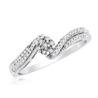 Sterling Silver 0.09 Cttw Diamond Micropave Promise Ring
