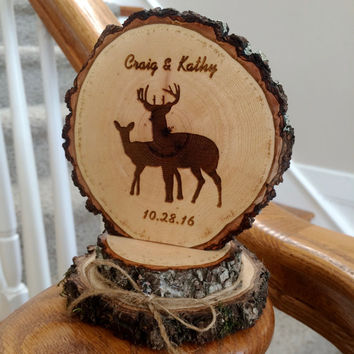 Rustic Deer Wedding Cake Topper, Custom Topper, Engraved Wood Topper, Woodland Wedding, Deer Couple Topper