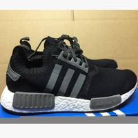 "Women ""Adidas"" NMD Boost Casual Sports Shoes Black red stripe"